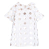 Hucklebones Gold Ivory Dots Ruffle Shift Dress-ss19-112-