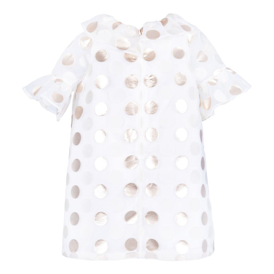 HUCKLEBONES GOLD IVORY DOTS RUFFLE SHIFT DRESS