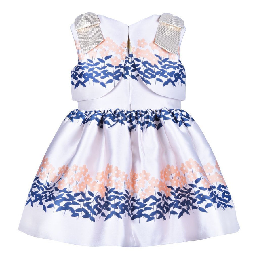 PEONY NAVY RIBBON BODICE DRESS