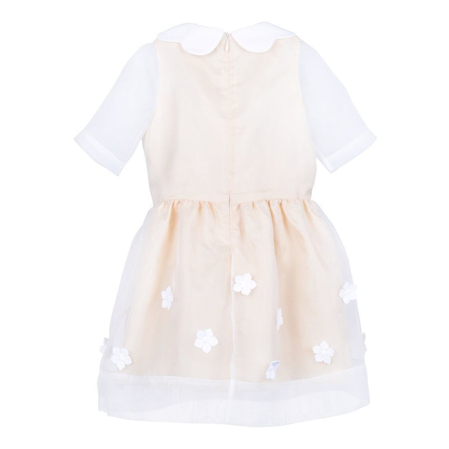 Hucklebones Beige Primrose Scalloped Collar Tea Dress-ss19-122-