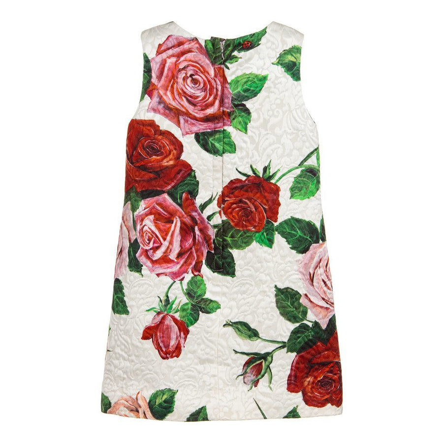 Dolce & Gabbana Ivory Brocade Rose Sleeveless Dress