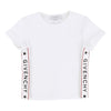 Givenchy White Short Sleeve Logo Tape T-Shirt-h15038-10b-