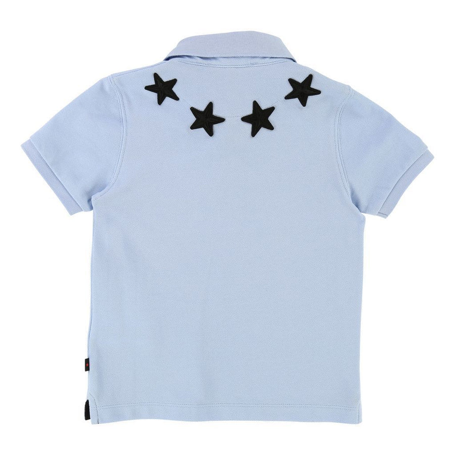 GIVENCHY PALE BLUE EMBROIDERED STAR POLO