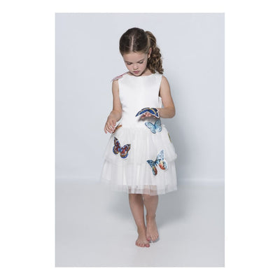 Charabia White Satin Butterfly Tulle Dress