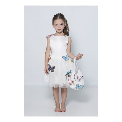 Charabia White Satin Butterfly Tulle Dress-ne57c-