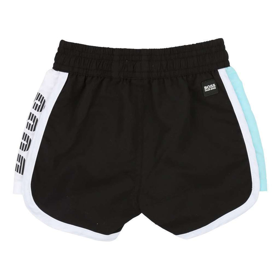 BOSS-SWIM SHORTS-J04326-M41 BLACK  WHITE