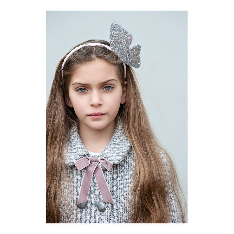 Glitter Gray Butterfly Headband