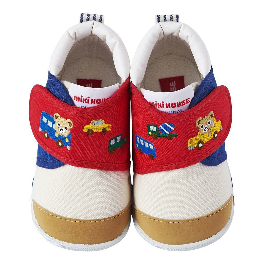 Miki House White/Red Car Shoes