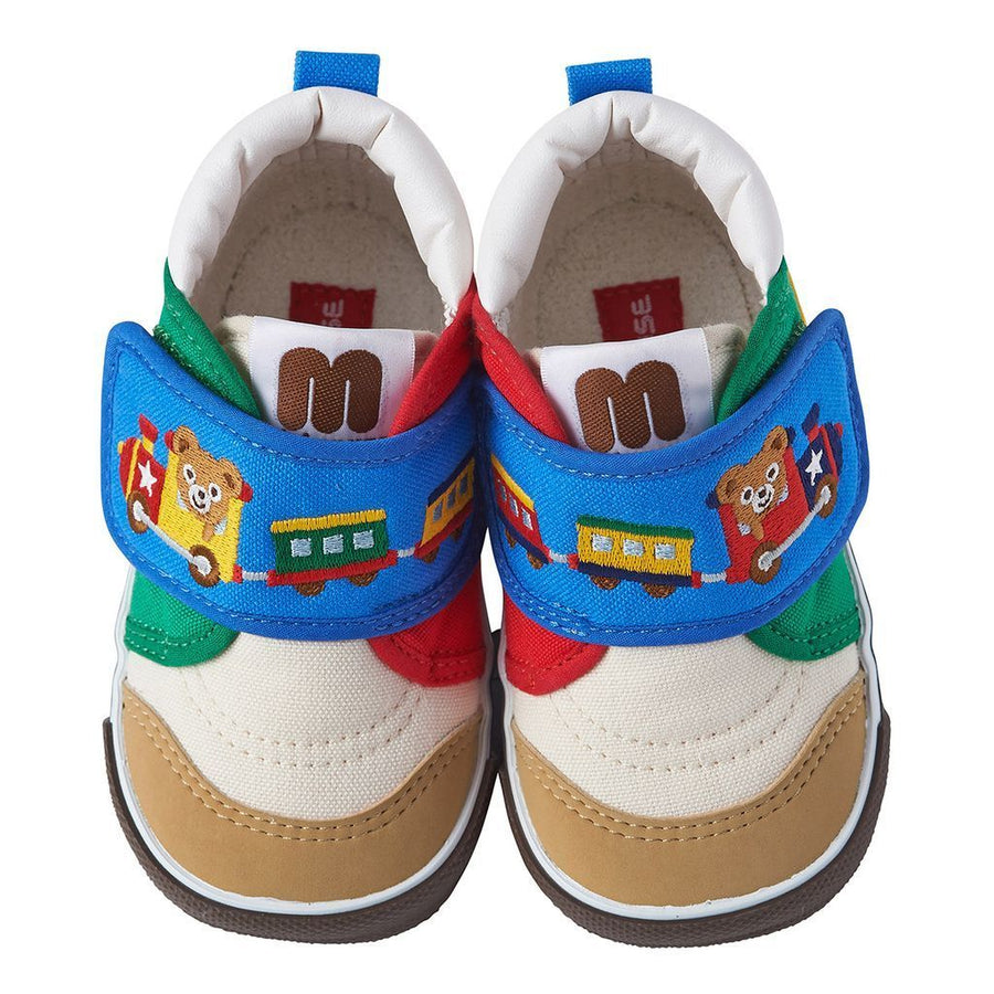 Miki House White/Blue Bear Train Shoes