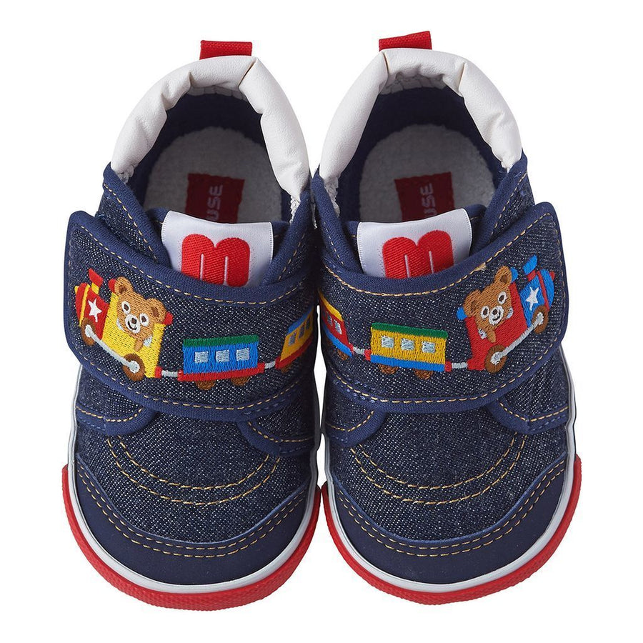 Miki House Navy Bear Train Shoes
