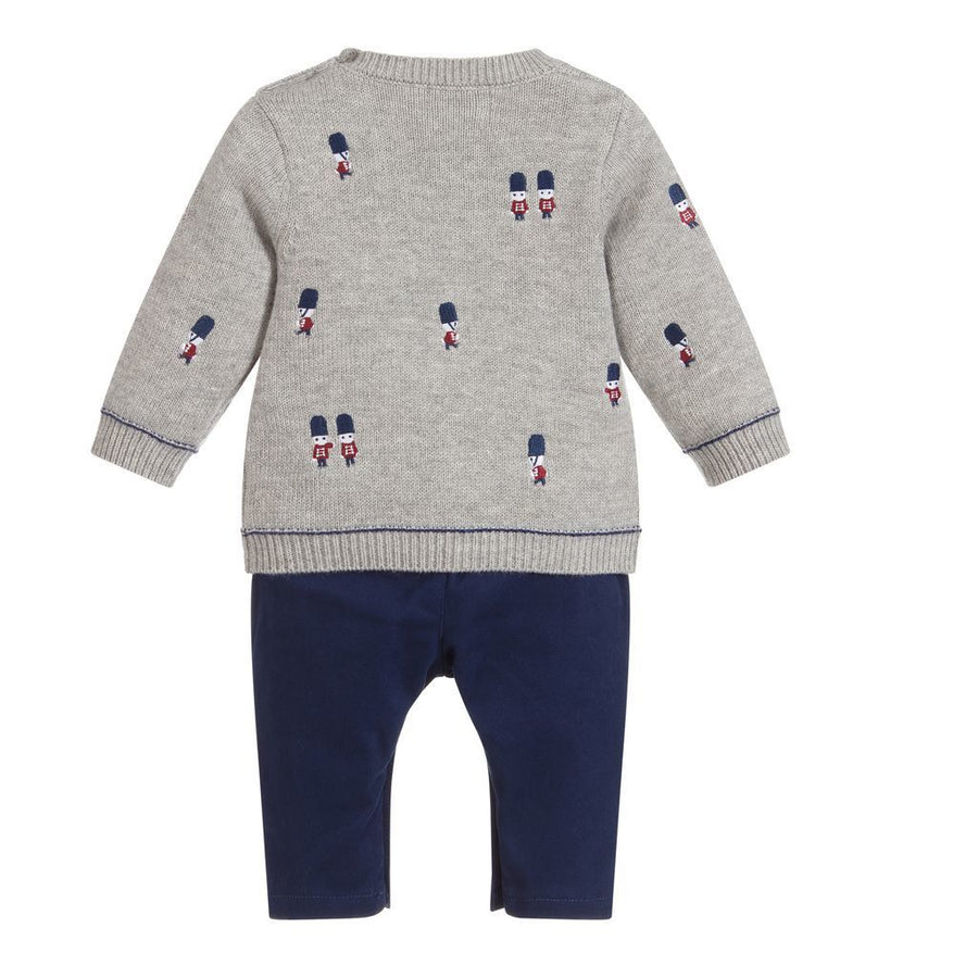 Mayoral Gray Embroidered Sweater and Pants Set