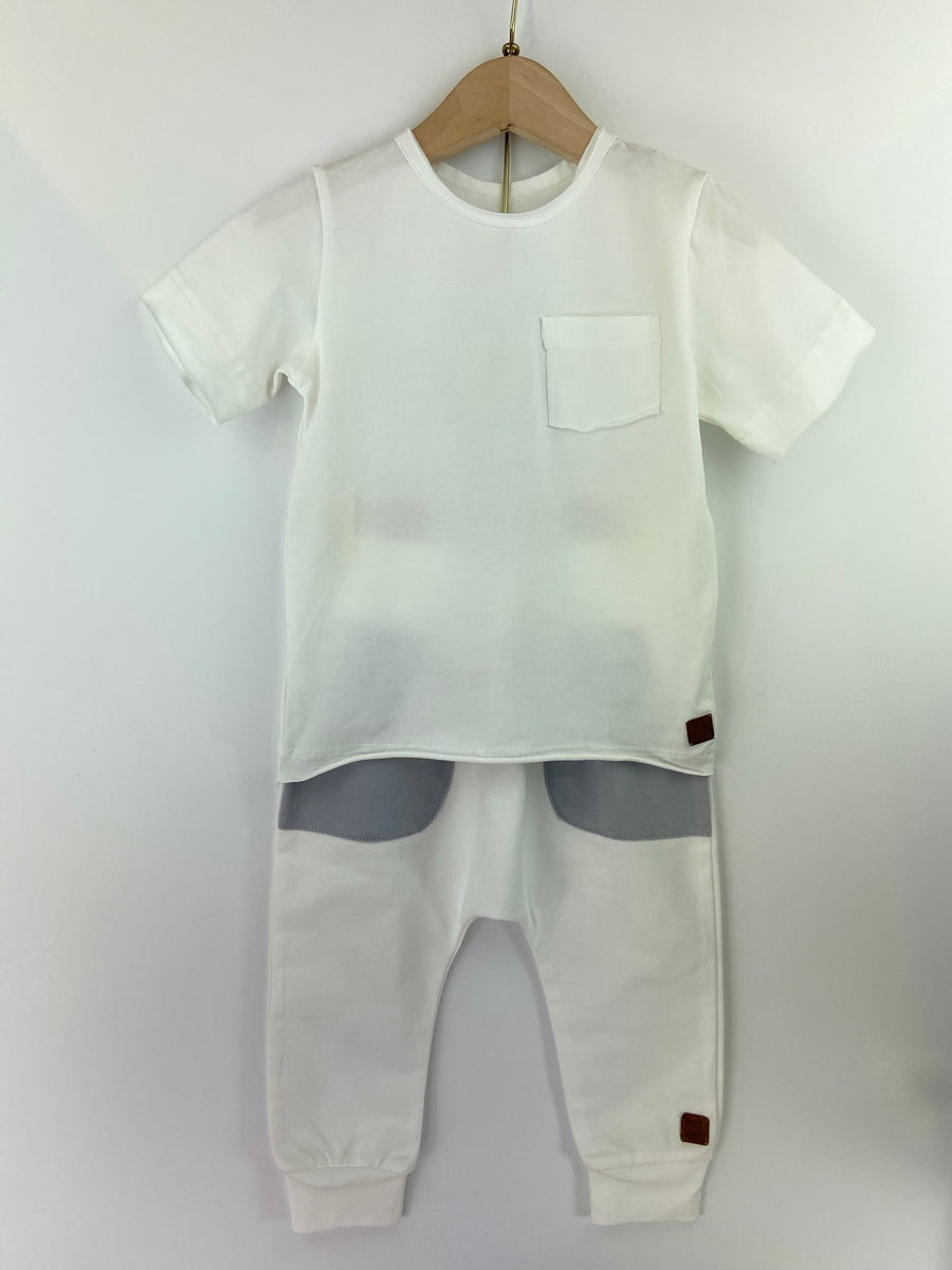 WHITE POCKET T-SHIRT & PANT SET