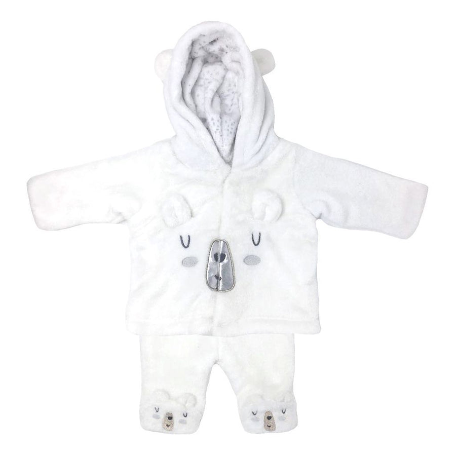 MILKTOLOGY-MILK424-POLAR BEAR 2 PC SET W/HOOD BEAR CUFFS-WHITE/NEUTRAL ARTIC PRINT