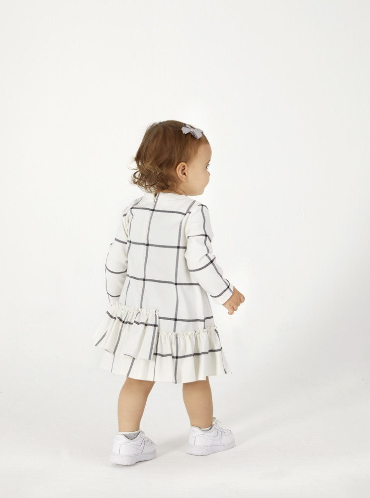 White Check Ruffle Dress