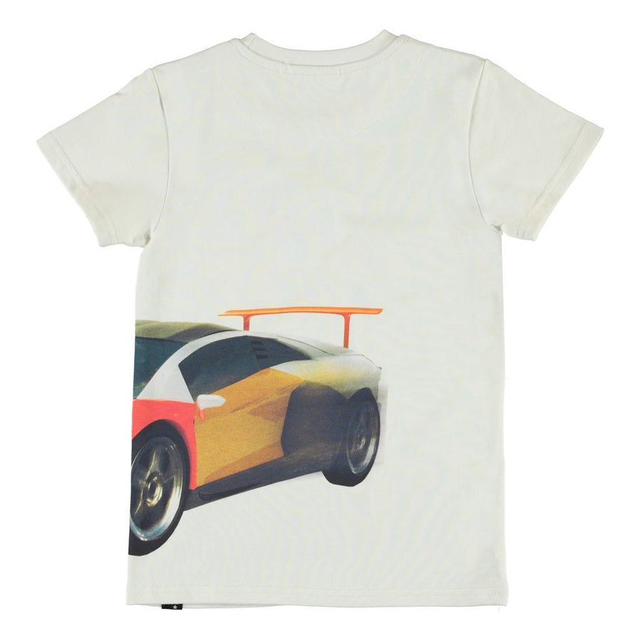 MOLO IVORY PATCHWORK CAR BIG RAVEN T-SHIRT