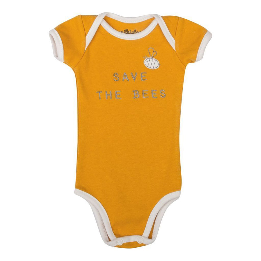 YELLOW SAVE THE BEES BODYSUIT