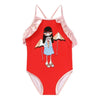 Little Marc Jacobs Red Ruffle Trim Swimsuit