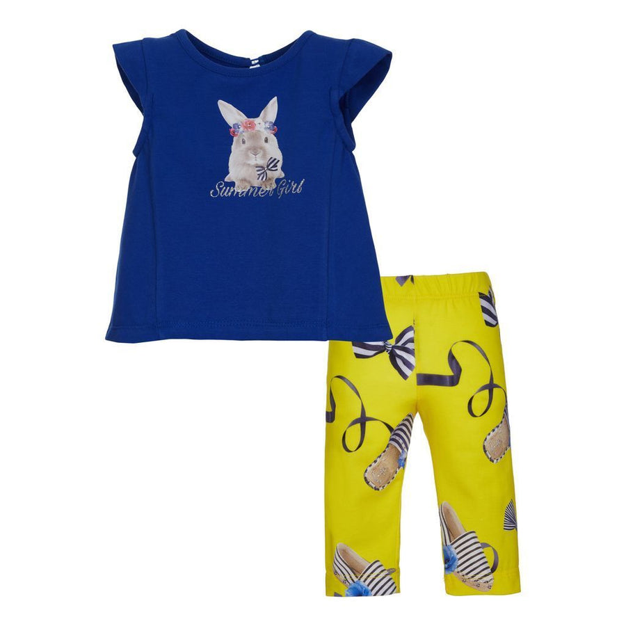 BLUE BUNNY T-SHIRT & YELLOW LEGGING SET
