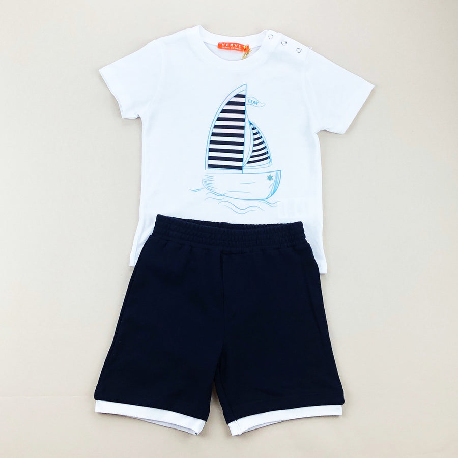 White Sailboat Outfit Set