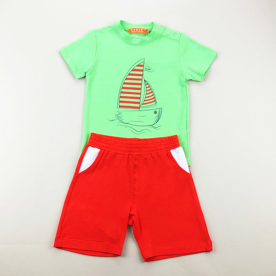 Green Sailboat Outfit Set