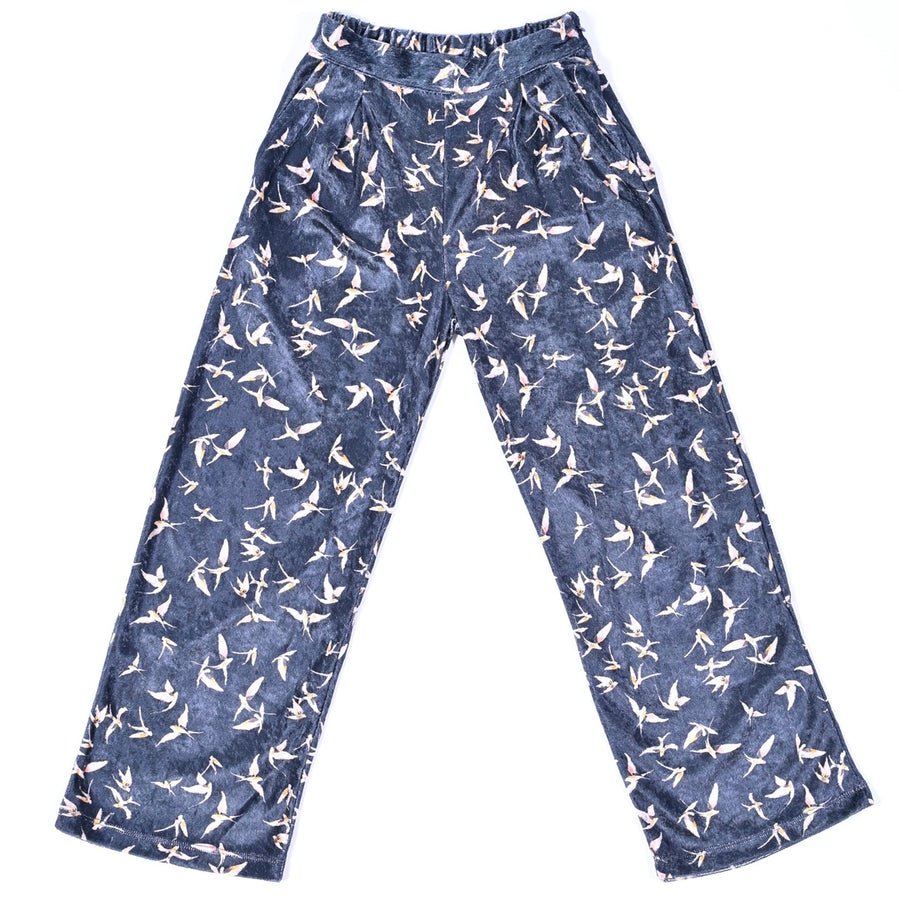 "CHARCOAL ""BIRDS"" BOHEMIAN TROUSERS"