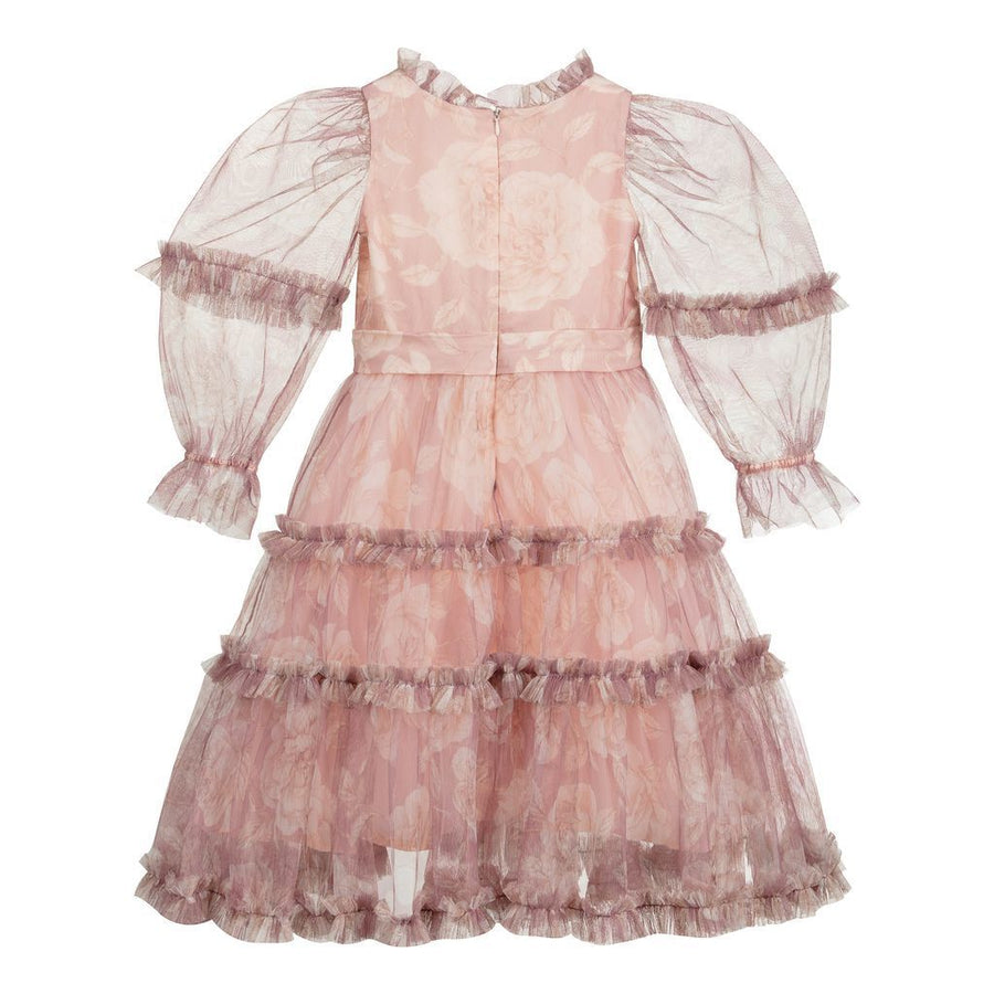 Pink Floral Tiered Tulle Dress