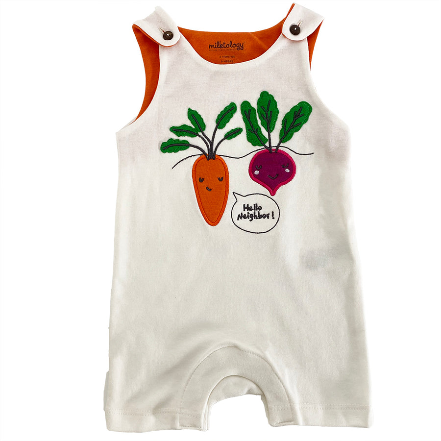 MILK374-White-HELLO NEIGHBOR ROMPER BARN BEES PEAS