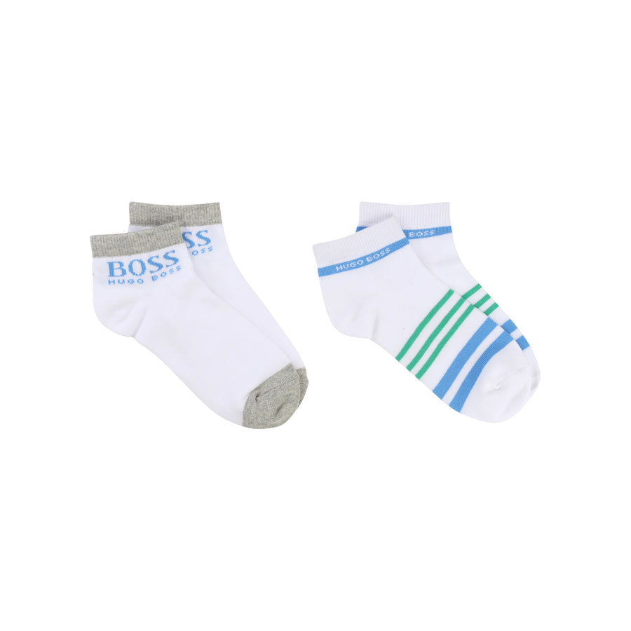 Boss 2 Pair White Striped Socks