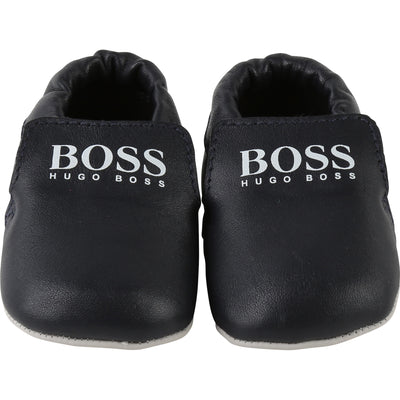 Boss Navy Blue Leather Logo Booties-Shoes-BOSS-kids atelier