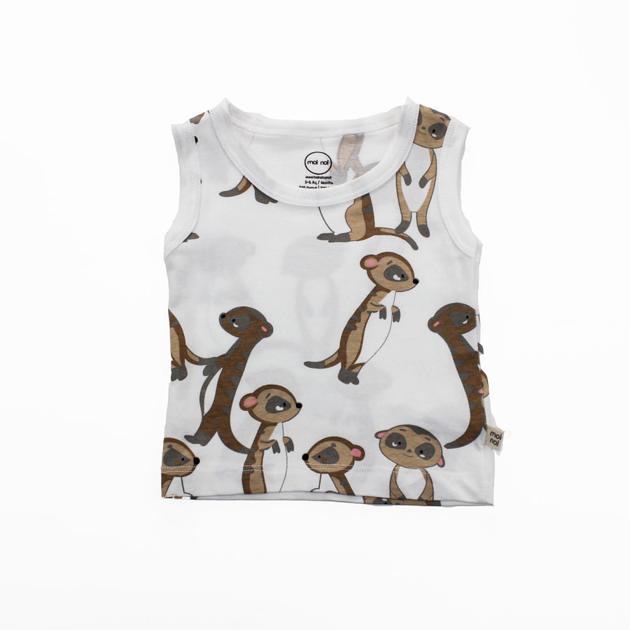 WHITE MEERKAT TANK TOP SET