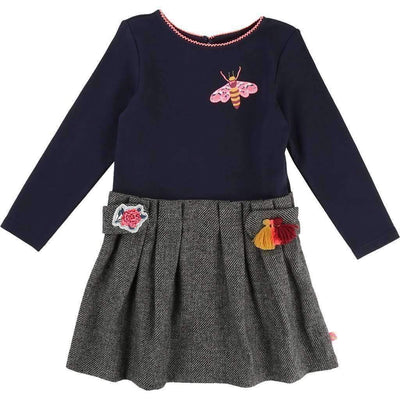 Billieblush Navy & Gray Bee Dress-Dresses-Billieblush-kids atelier