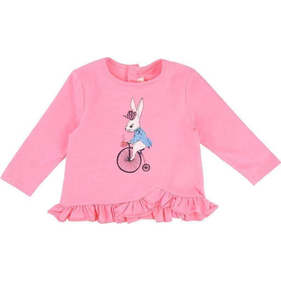 Billieblush Pink Bicycle Rabbit Shirt-Shirts-Billieblush-kids atelier