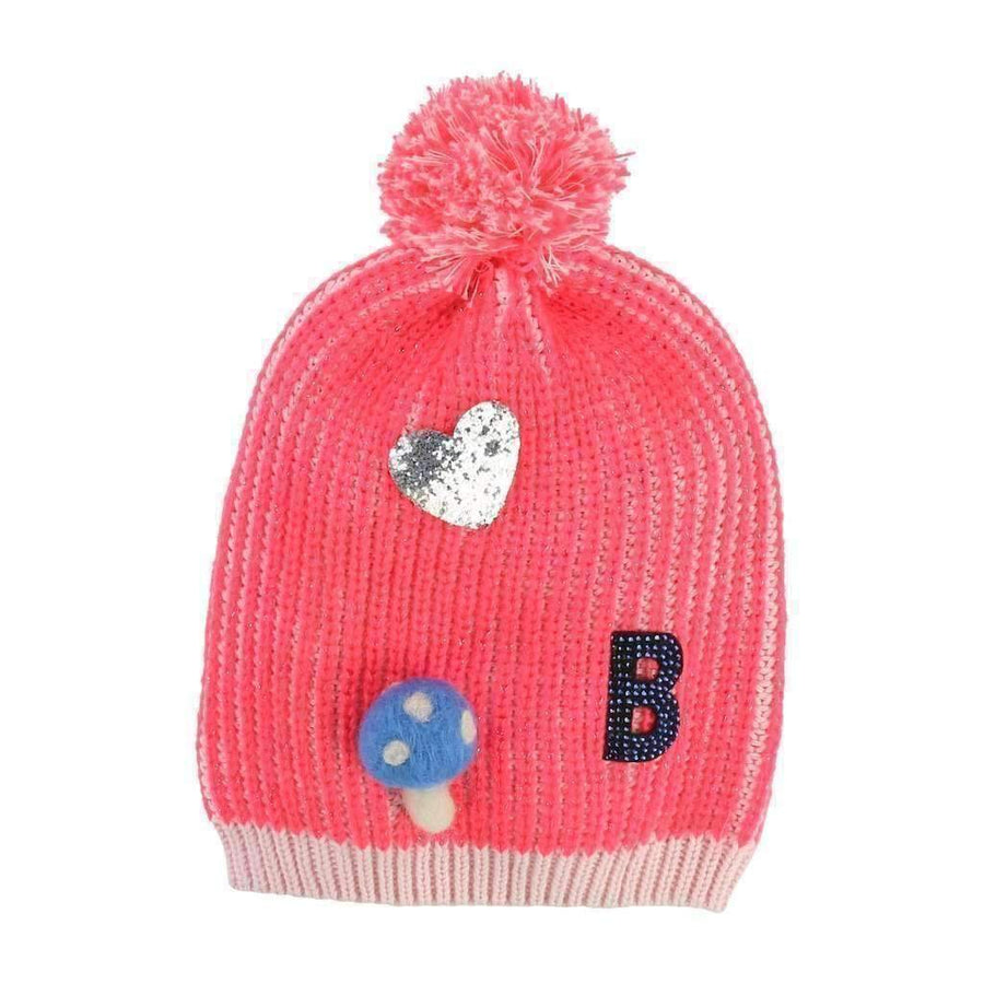 Billieblush Pink Knit Patches Beanie-Accessories-Billieblush-kids atelier