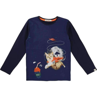 BillyBandit Navy Blue Space Cat T-Shirt-Shirts-Billybandit-kids atelier