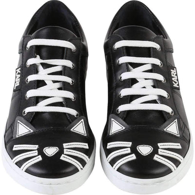 Black Leather Choupette Sneakers-Shoes-Karl Lagerfeld-kids atelier