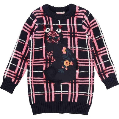 Black & Pink Checkered Knit Dress-Dresses-Billieblush-kids atelier