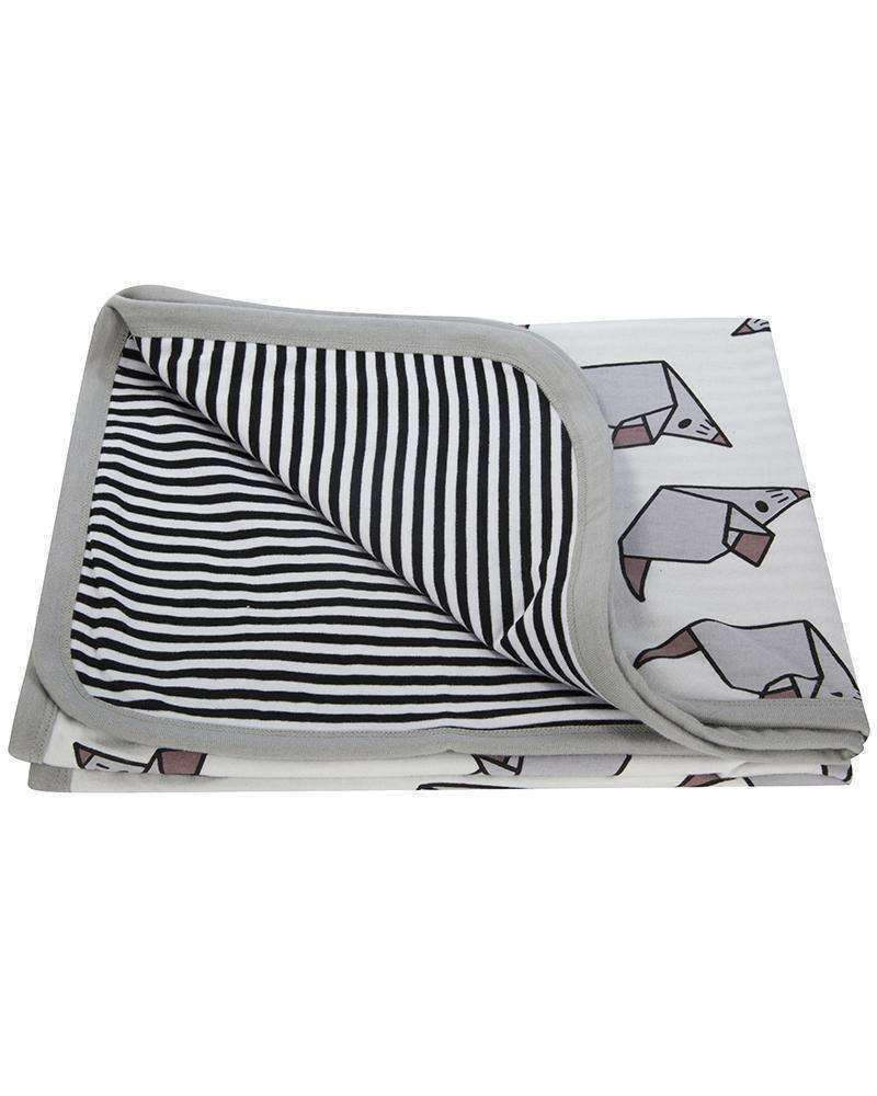 Black & White Knit Origami Mouse Jersey Blanket-Accessories-Turtledove London-kids atelier
