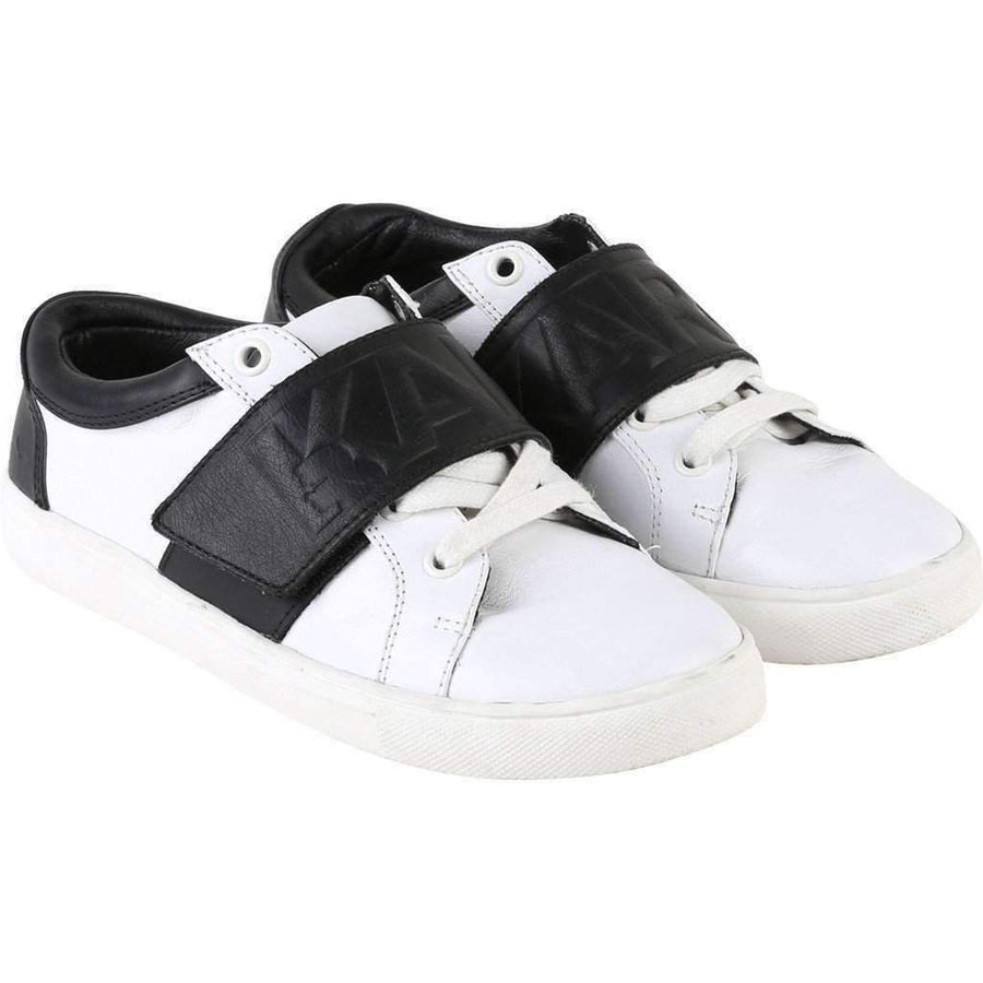 Black & White Leather Velcro Sneakers