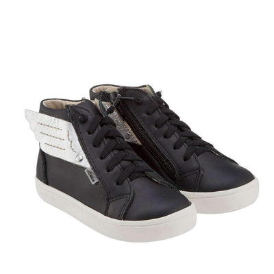 Black & White Leather Wing Sneakers-Shoes-Old Soles-kids atelier
