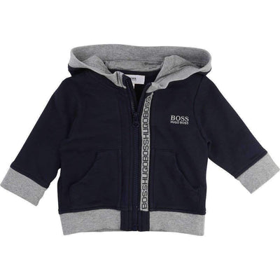 Black with Gray Trim Hooded Jacket-Outerwear-BOSS-kids atelier