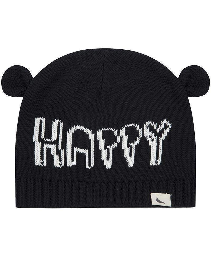 Black Woven Happy Ears Knitted Hat-Accessories-Turtledove London-kids atelier