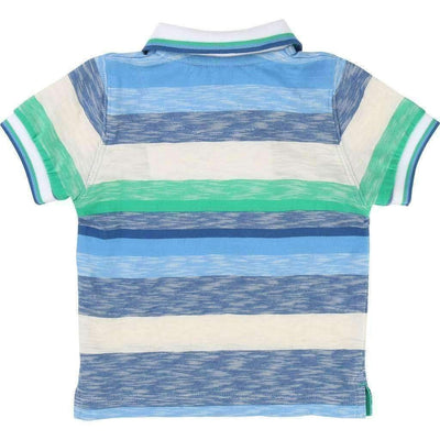 Blue & Green Striped Polo-Shirts-BOSS-kids atelier