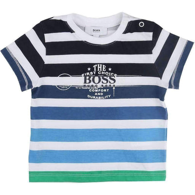 Blue Striped T-Shirt-Shirts-BOSS-kids atelier
