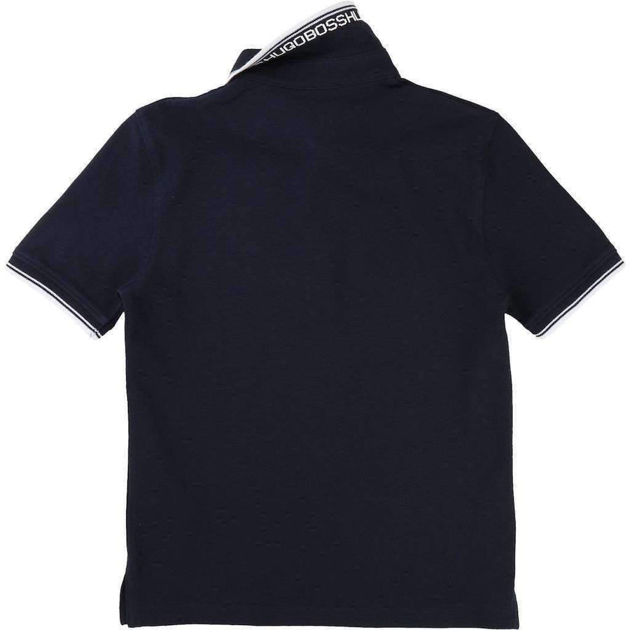 Boss Navy Accented Polo-Shirts-BOSS-kids atelier