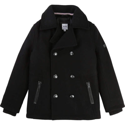 Boss Black Wool Knitted Sailor Coat-Outerwear-BOSS-kids atelier