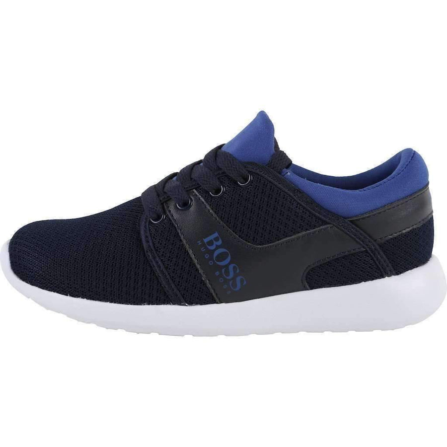 Boss Blue Leather Trainer Shoes-Shoes-BOSS-kids atelier