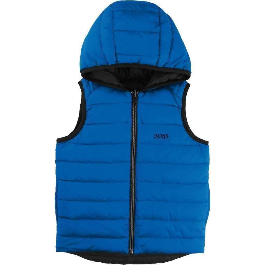 Boss Blue Reversible Puffer Jacket-Outerwear-BOSS-kids atelier