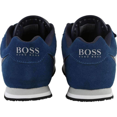 Boss Blue Suede Trainer Shoes-Shoes-BOSS-kids atelier