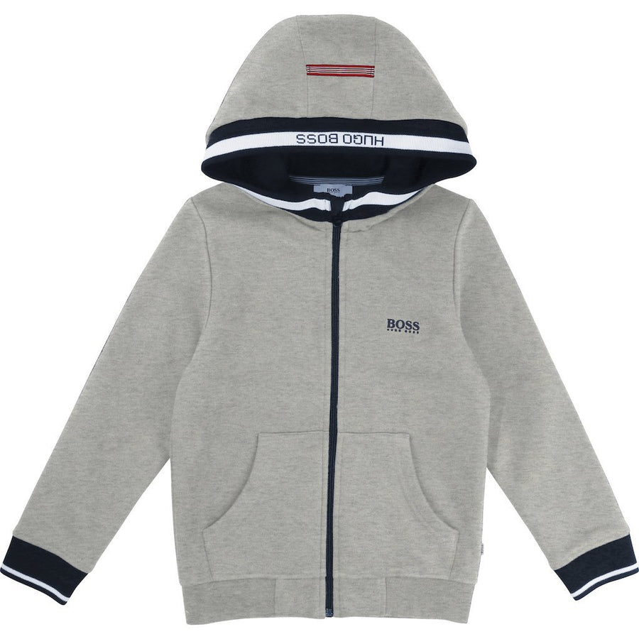 Boss Boy Gray Fleece Jacket-Outerwear-BOSS-kids atelier