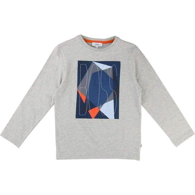 Boss Gray Abstract Logo T-Shirt-Shirts-BOSS-kids atelier